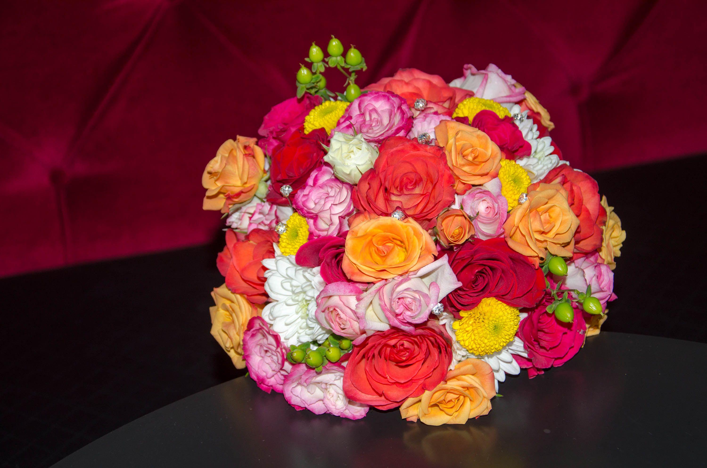 bright colored wedding bouquet with rhinestones, red, pink, orange ...