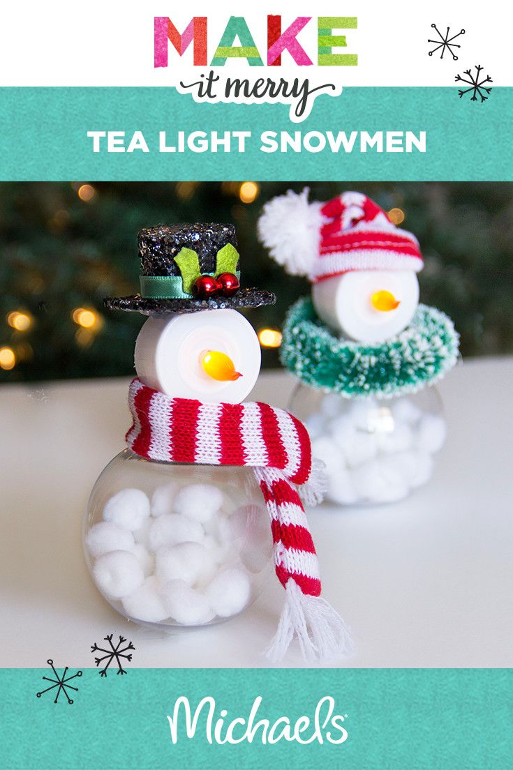 Make Your Holidays Bright With This Adorable Tea Light Snowmen Project Learn How To Make This And More At Christmas Crafts Tea Light Crafts Tea Light Snowman