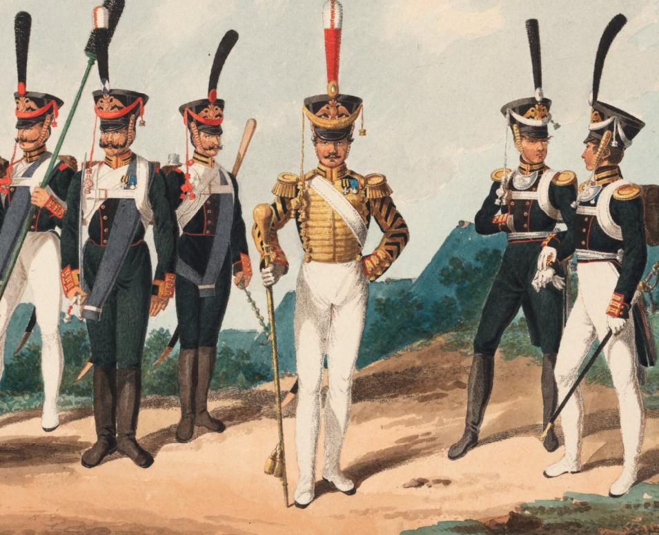 Artiglieri, tamburo maggiore e ufficiali di artiglieria della guardia imperiale russa