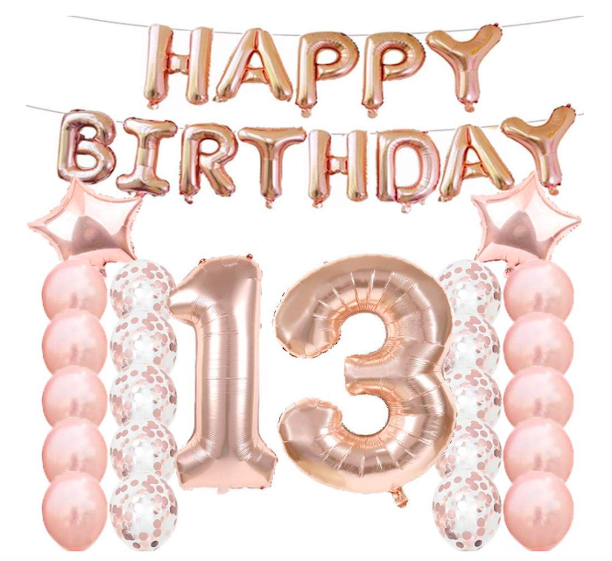 Rose Gold 13th Birthday Decorations 13 Birthday Party Etsy In 2021 Gold Birthday Decorations Birthday Decorations Birthday Party Decorations