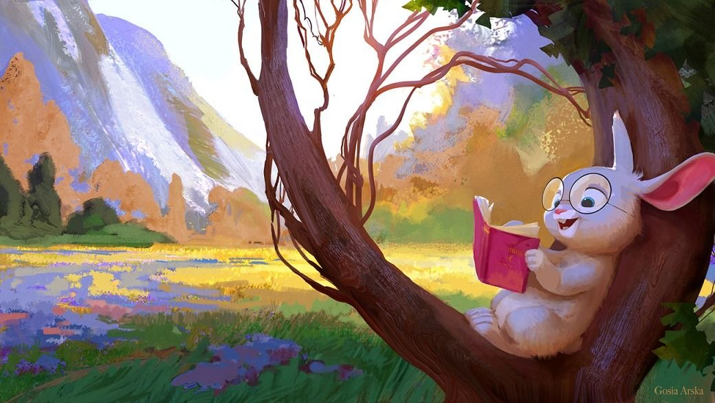 The Reading Bunny by Gosia Arska Environmental art