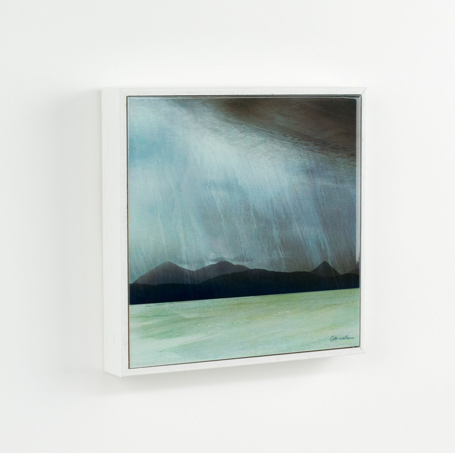 "Framed Ceramic Tile 6"" Rain Storm Skye"