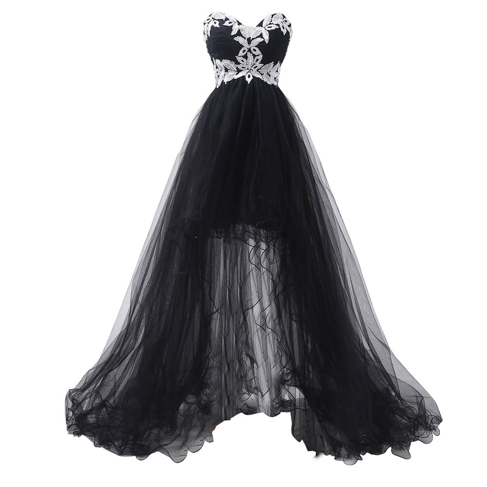 Elegant handmade applique sweetheart prom dressformal black women