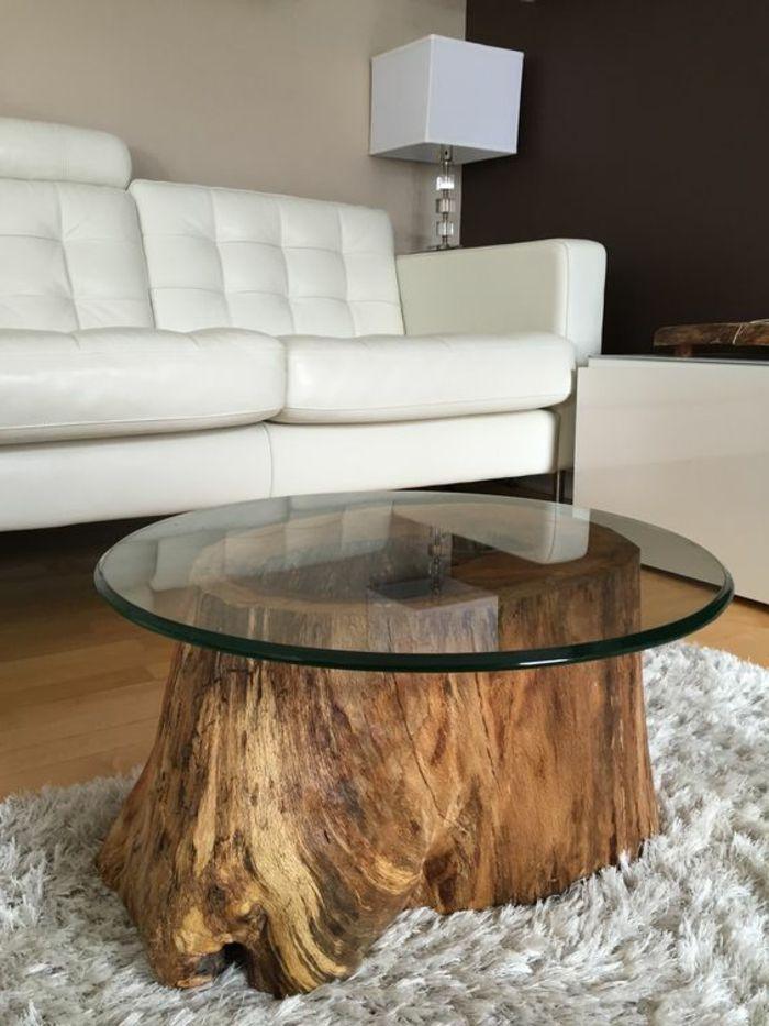 Deco Table Bois Flotté bois flotte deco table massive verre ronde salon chic moderne | deco