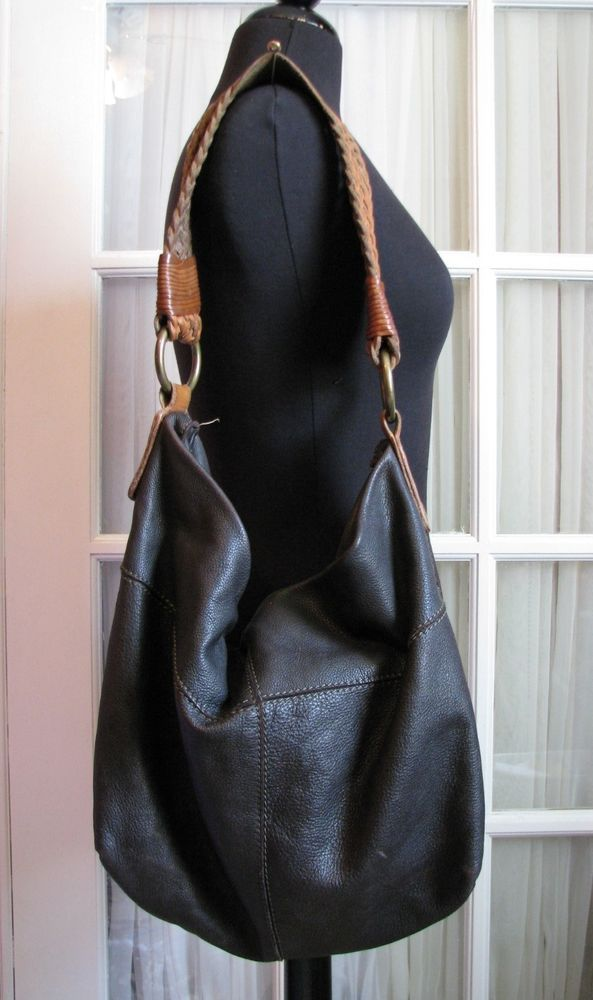 Lucky Brand Vintage Inspired Brown Leather Braided Strap Hobo Bag Purse Luckybrand
