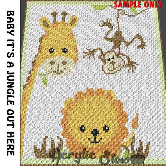 Baby Graphgan Pattern - Corner to Corner - C2C Crochet - Baby Monkey ...