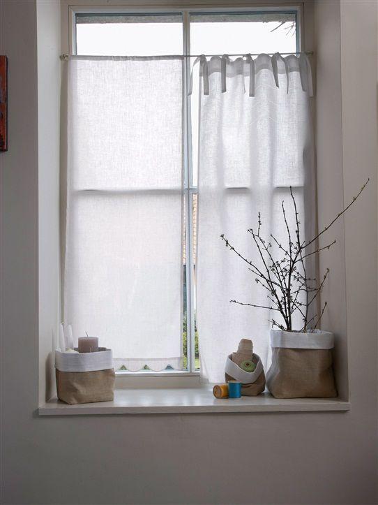 Brise bise en lin festonn blanc apaprtement ambiance rideau salle de bain habiller fenetre - Habillage fenetre cuisine ...