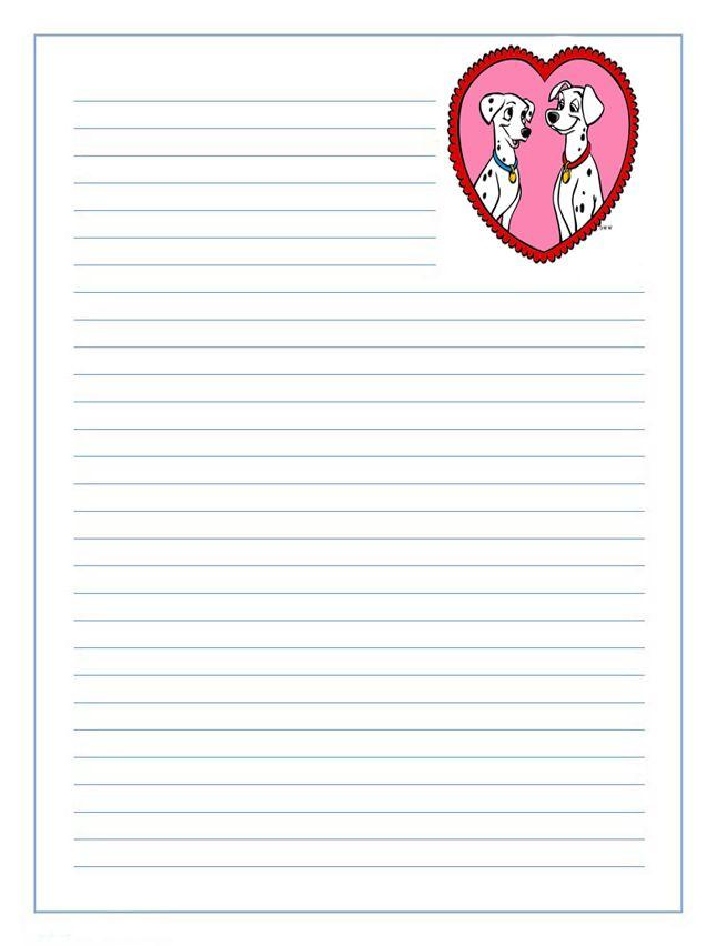 Imprime Gratis Papel De Carta Infantil Para Niños De Perritos Dalmatas Enamorados Sobres De Papel Cartas Para Imprimir Cartas Para San Valentin