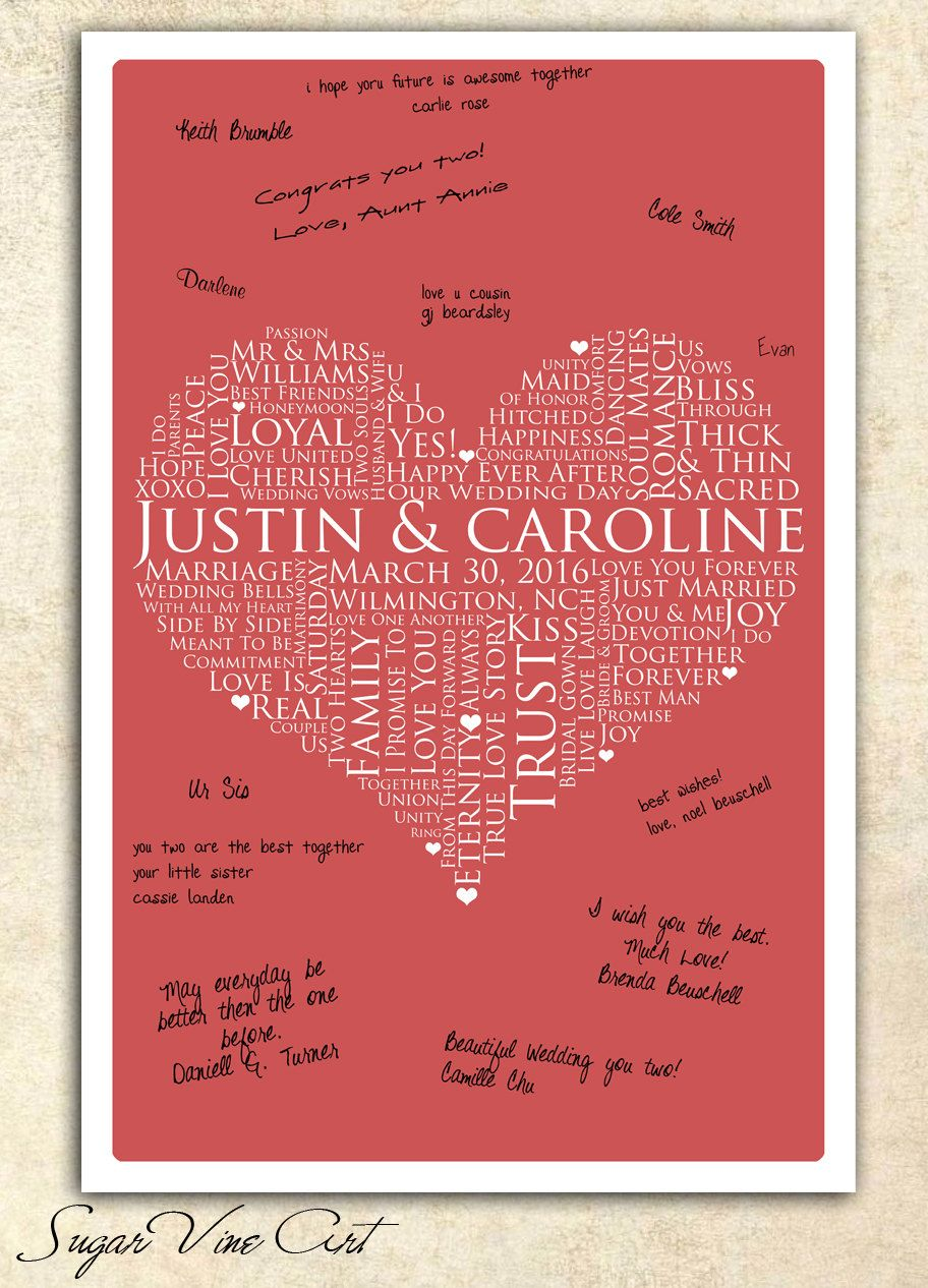 13x19 Signature Guest Book, Wedding heart Guestbook, personalized wedding word art, WEDDING GUESTBOOK SIGNATURE poster, love words poster