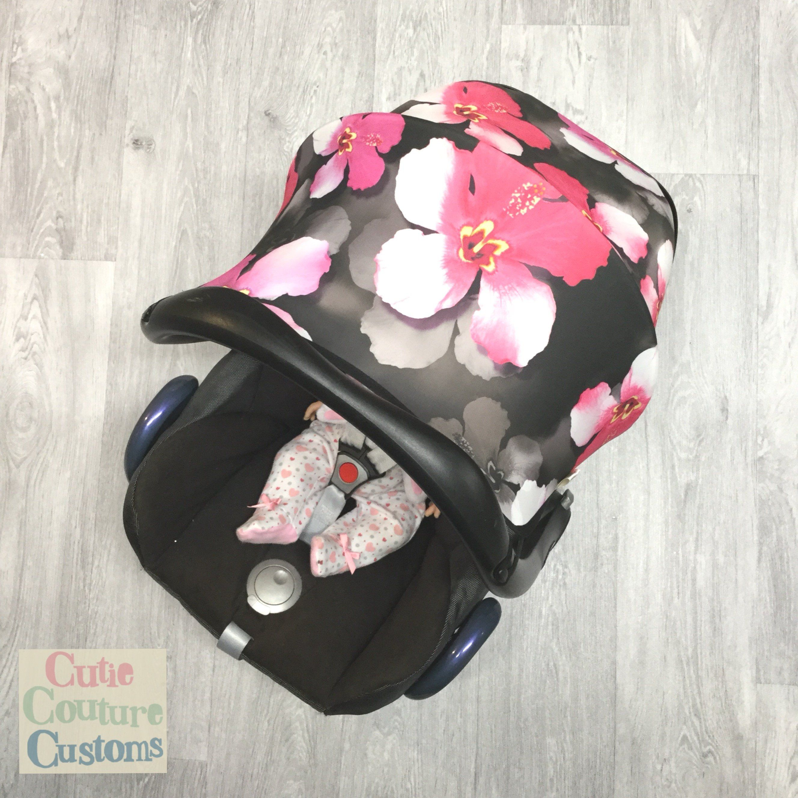 and covers pink//roses cabriofix//pebble//universal baby carseat hood//sun canopy