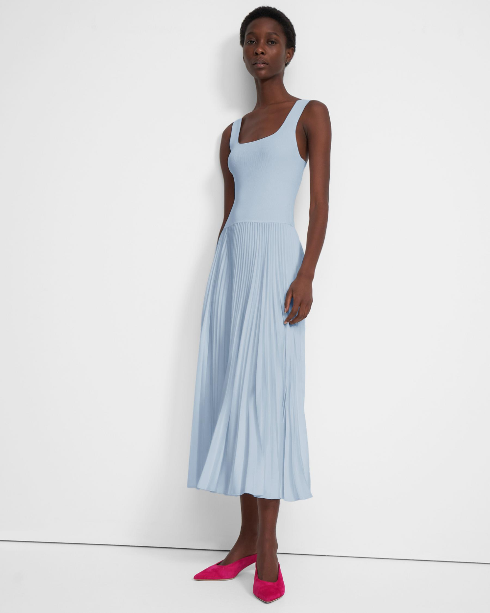 Pleated Square Neck Dress In Crepe In 2020 Square Neck Dress Ribbed Dresses Grecian Dress