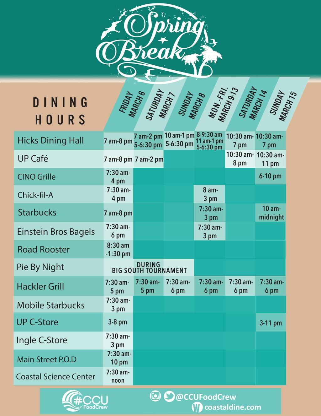 Ccufoodcrew spring break 2015 dining hours with images