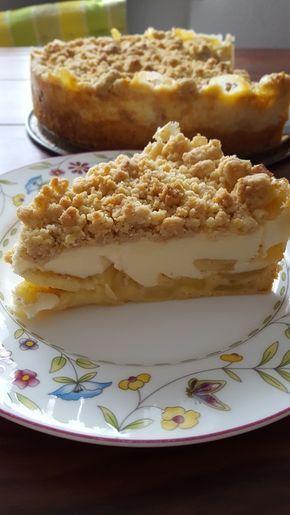 Apfelkuchen mit Vanillecreme und Streuseln #apfelmuffinsrezepte