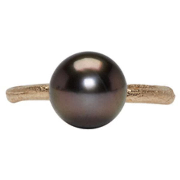 Pearls Before Swine Gold Tahitian Pearl Ring ($590) ❤ liked on Polyvore featuring jewelry, rings, gold, yellow gold band ring, 14k gold jewelry, gold band ring, pearl ring and 14 karat gold ring