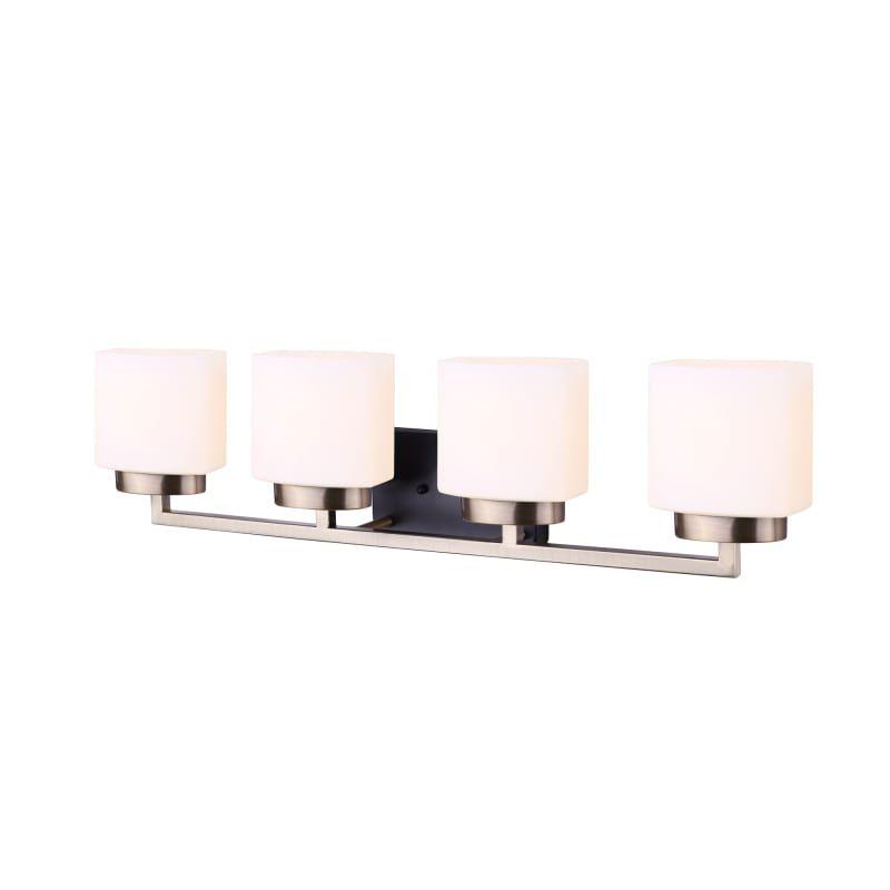Photo of Canarm IVL751A04 Sutherland 4 Light 31″ Wide Bathroom Vanity Light Black / Gold Indoor Lighting Bathroom Fixtures Vanity Light