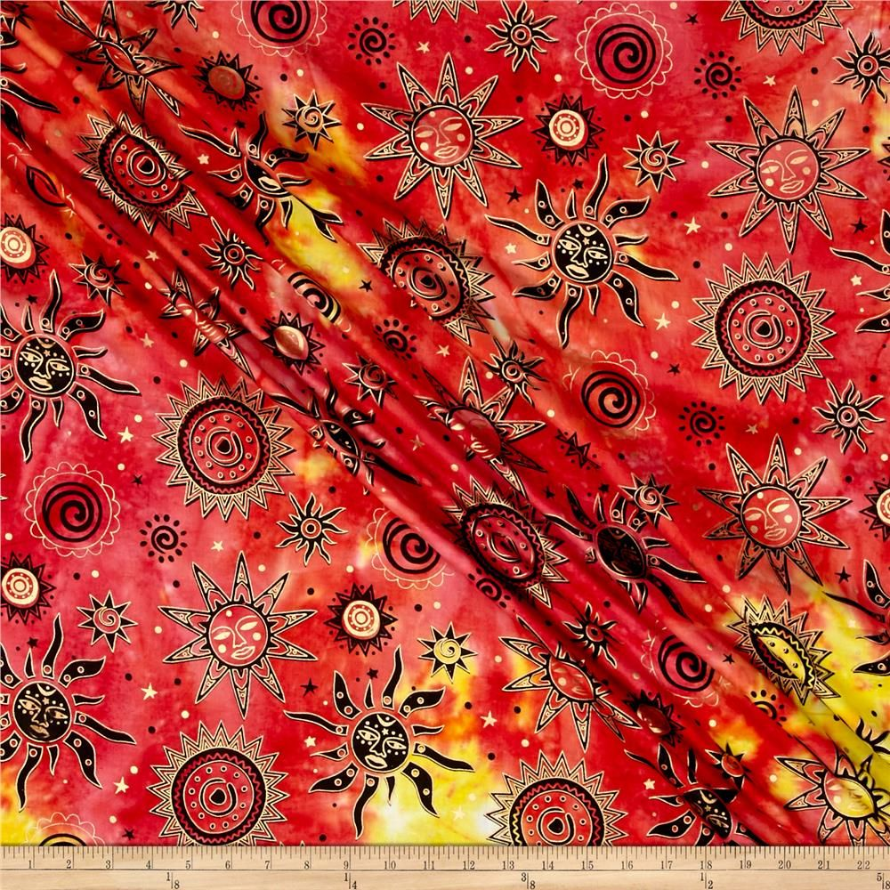 Indian Batik Odyssey Gold Sun Fuchsia Multi from @fabricdotcom  From Textile Creations, this Indian batik is perfect for quilting, apparel…