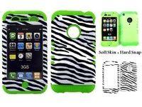 Combo For IPhone 3G 3GS Lime Green Skin Black White Zebra Hard Case