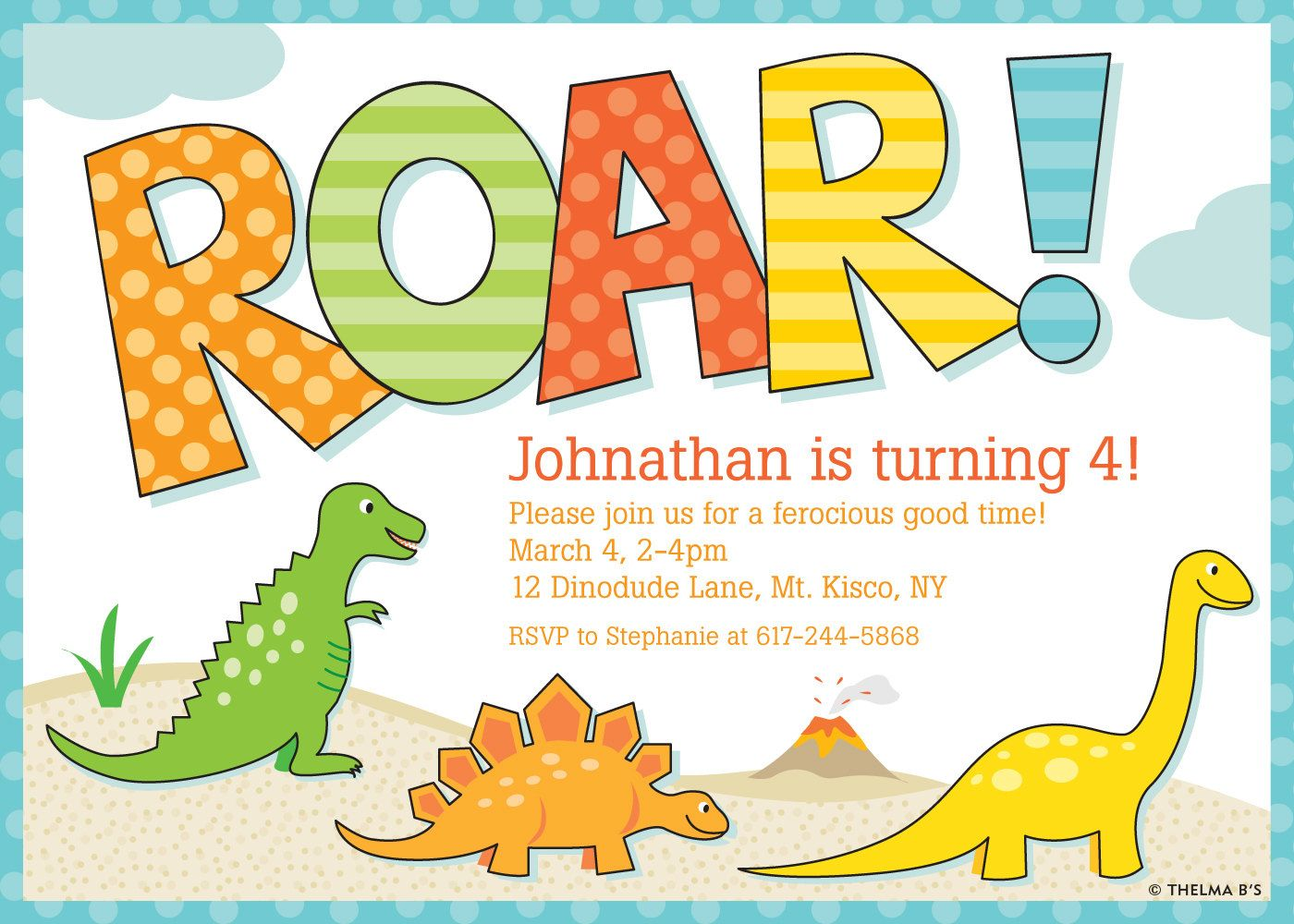 Awesome FREE Template Free Printable Dinosaur Birthday Invitations