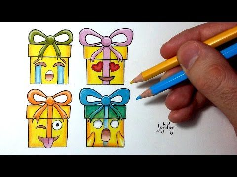 Comment dessiner des cadeaux de Noël Emoji Tutoriel - YouTube