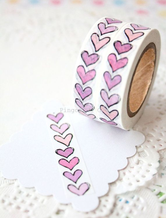 Lilac Hearts Washi Tape Scrapbooking Paper Goods Gift Wrapping Supplies 1 Roll 10 Mt Ready To Ship Washi Tape Washi Tape Projects Cards Handmade
