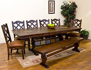 This Santa Fe Collection Trestle Dining Table Can Seat Eight