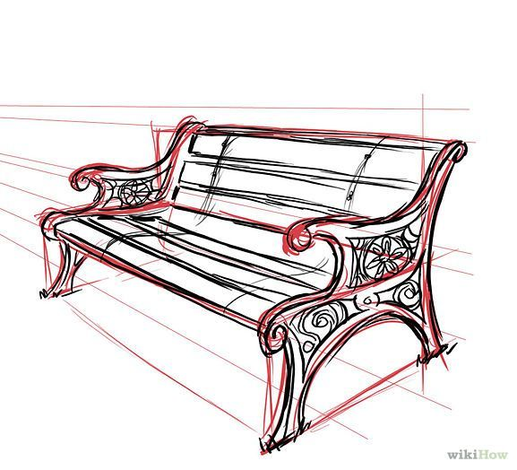 how to draw a bench in one point perspective