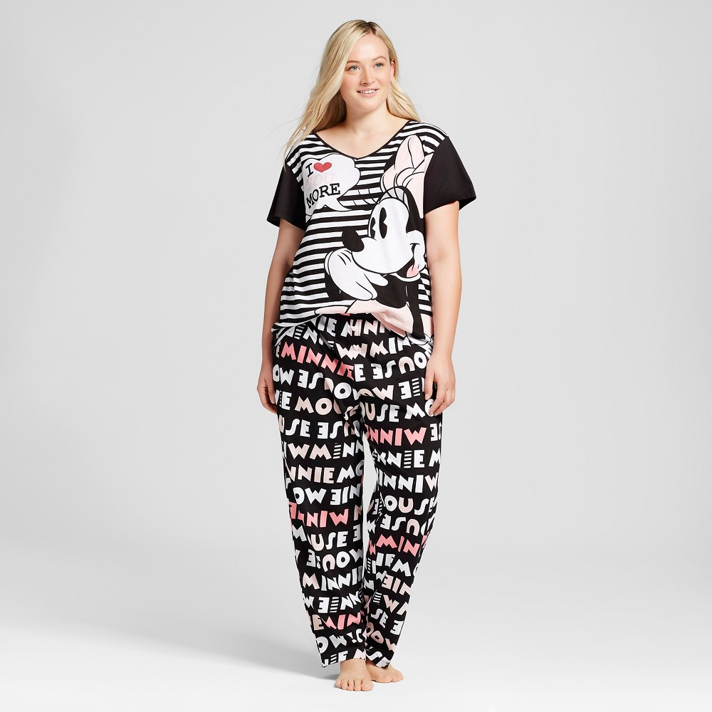 29313bb223 Disney Minnie Mouse Women's Plus Size Cross-Back Striped Top and All-Over  Printed Pajama Pant Pajamas Set - Black