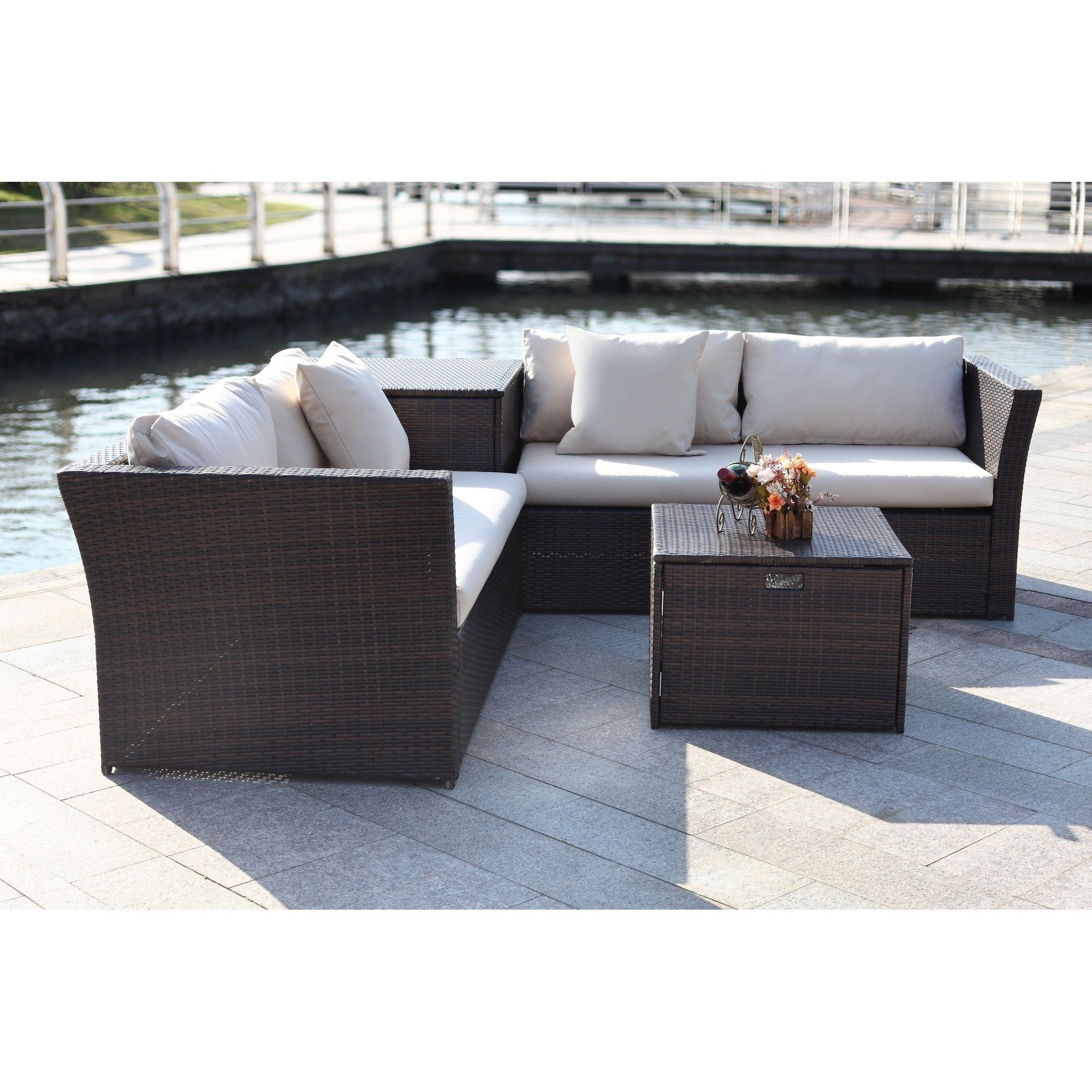 Baptist 6 Piece Rattan Sofa Set With Cushions Marguerite 4 Piece Rattan Sectional Set With Cushions Rattan And