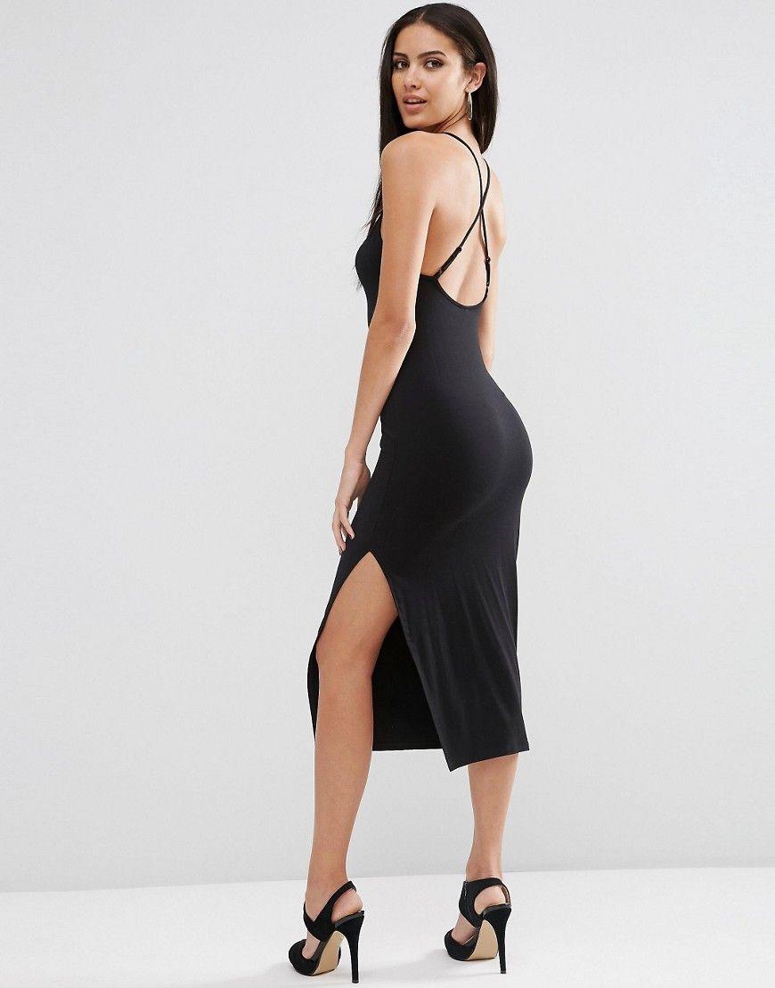 Black dress asos - Asos Halter Strappy Back Midi Dress