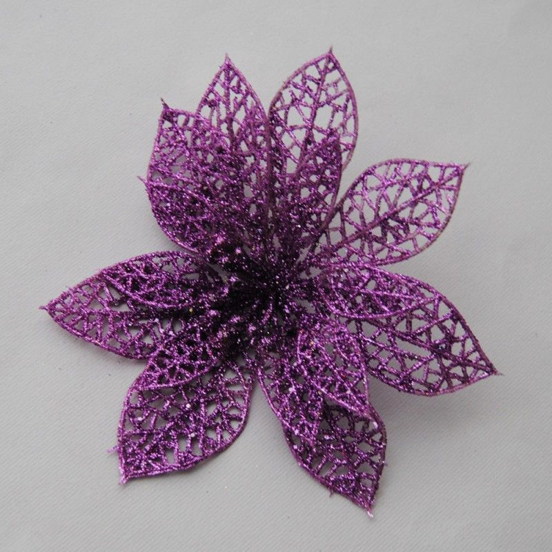 "New 10pcs Christmas Flowers 6"" Xmas Tree Decorations Glitter Hollow Wedding Party Simulation Christmas Fake"