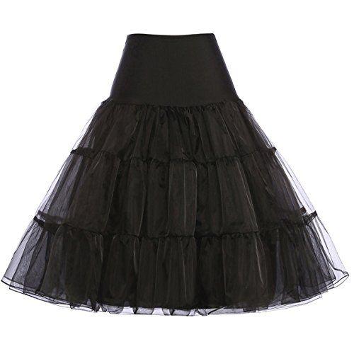 Schaut euch Damen 50s vintage petticoat rockabilly schwarz festl ...