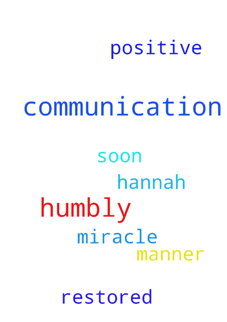 Our Father, I humbly pray that my communication with - Our Father, I humbly pray that my communication with Hannah is restored in a positive manner very soon. Please I need this miracle. Amen Posted at: https://prayerrequest.com/t/3Tw #pray #prayer #request #prayerrequest