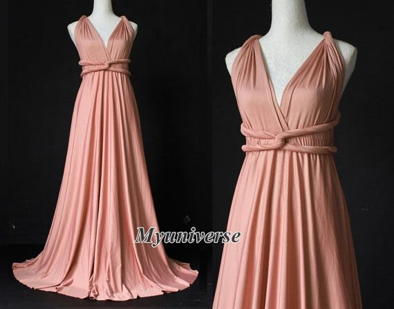 16ca4c367f1 Dusty Pink Bridesmaid Dress Infinity Dress Wrap Formal Dress Jersey Wedding  Women Plus Size Clothing