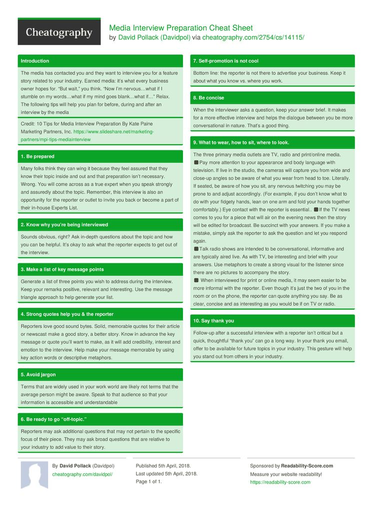 Media Interview Preparation Cheat Sheet by Davidpol http