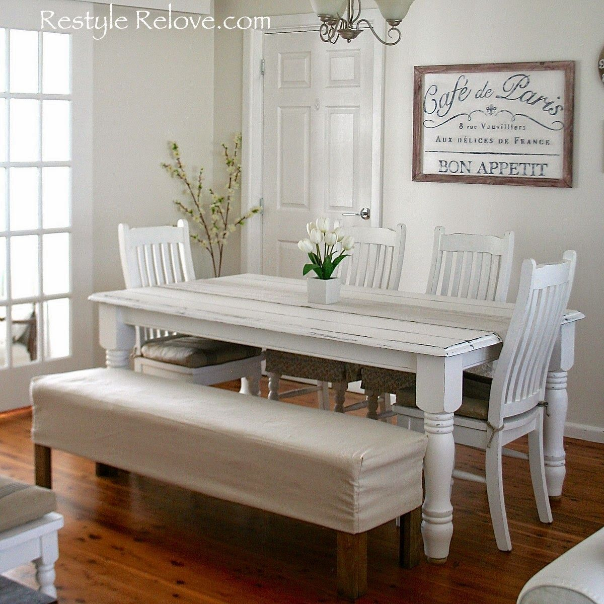 dining table bench seat. Restyle Relove: Padded Dining Room Bench Seat With Removable Washable Drop Cloth Cover Table