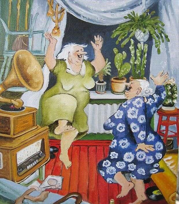 Прикольные картинки двух бабушек, музыкального