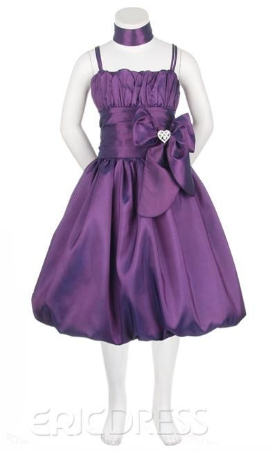 Lovely A-line Tea-length Square Ruched Bowknot Flower Girl Dress Flower Girl Party Dresses - ericdress.com 1930286