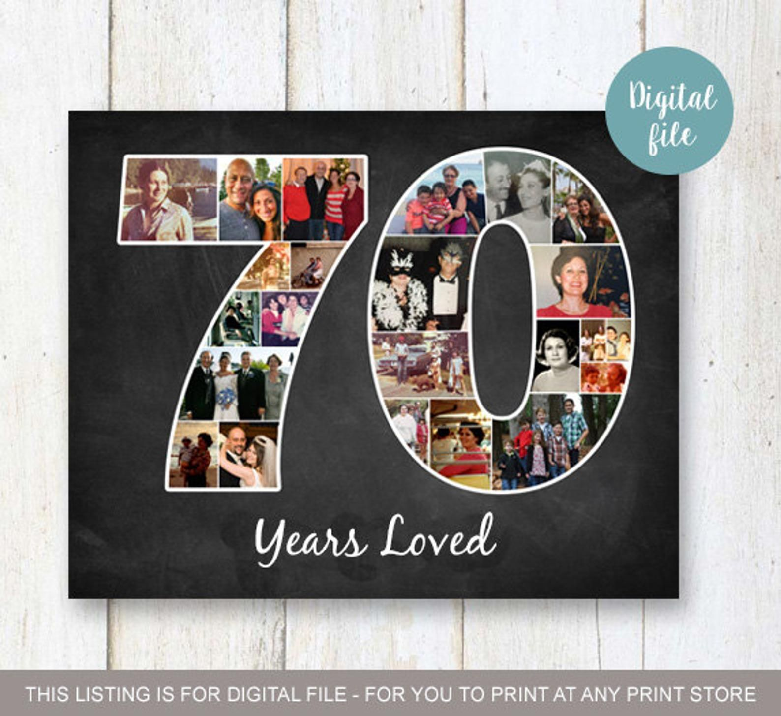 70th anniversary photo collage gift for parents or