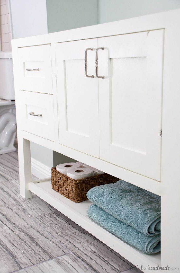 Mission Style Open Shelf Bathroom Vanity Build Plans images