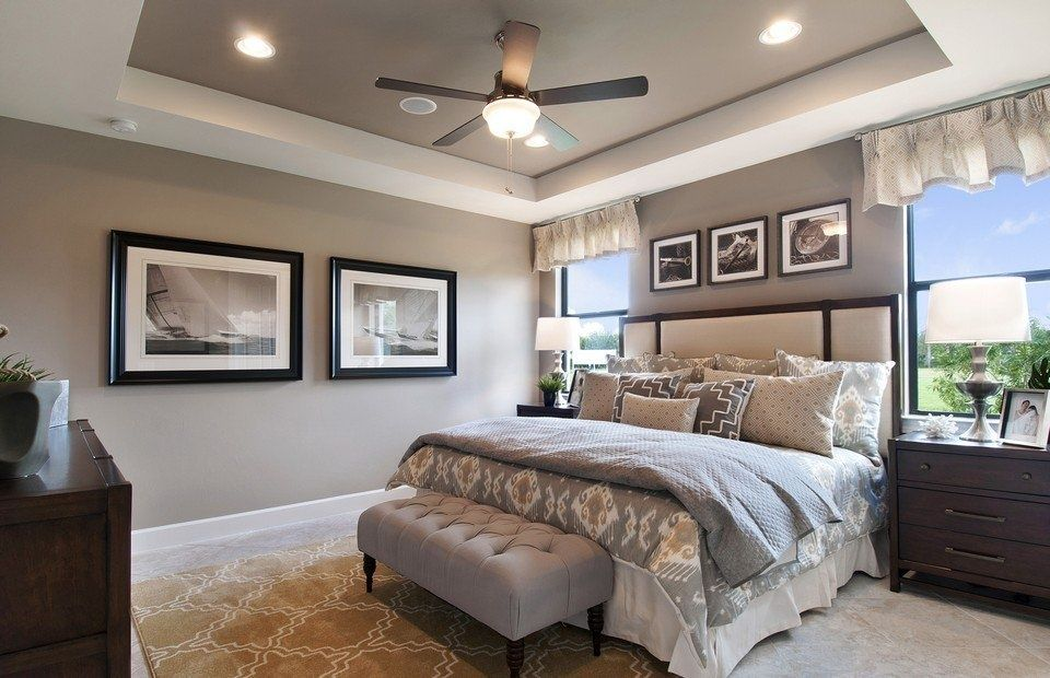 Transitional Master Bedroom With Flush Light Carpet High Ceiling