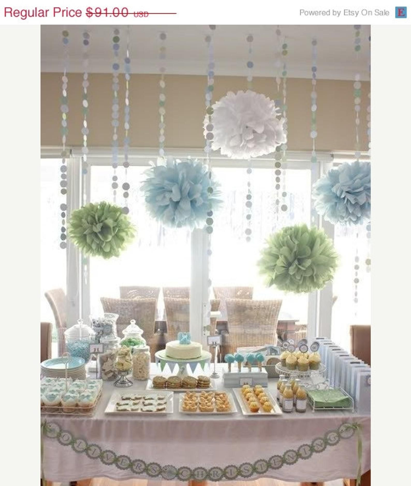 Baby Shower Decor Pack … tissue paper poms and garland / first birthday party / dessert buffet table backdrop // sprinkle gender reveal