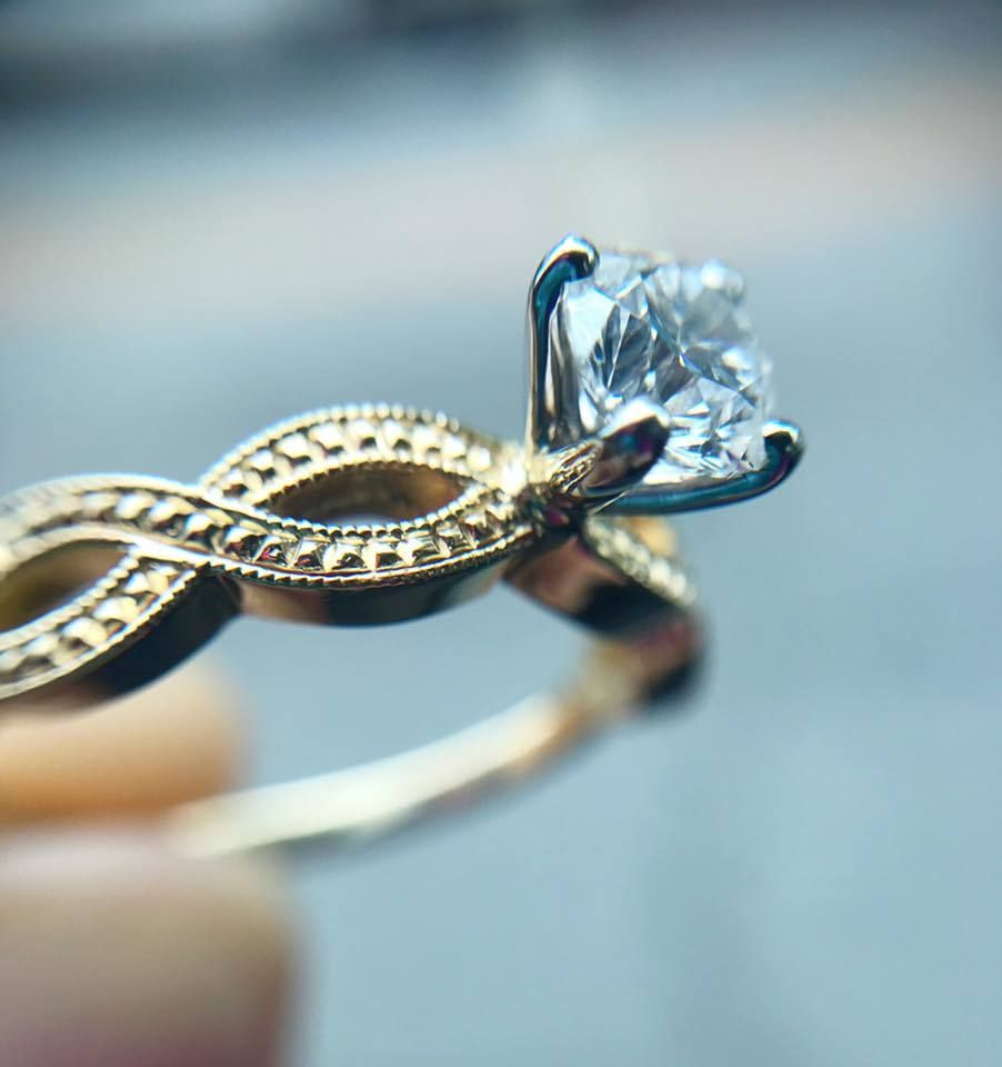 14k yellow gold vintage infinity engagement ring with