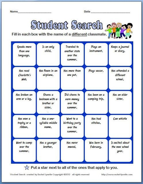 use a similar BINGO game as an ice breaker for the first day ...