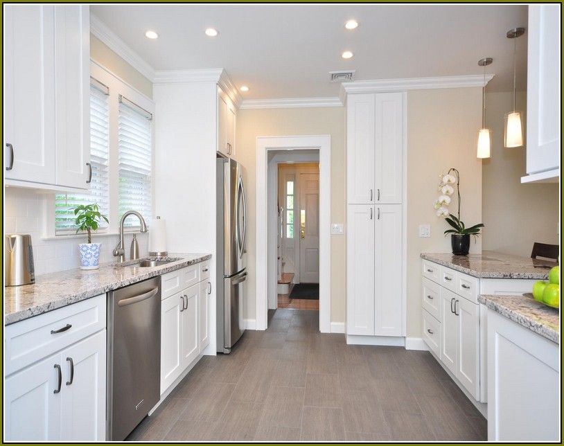 White kitchen cabinets with grey floors google search for Grey floor black cabinets