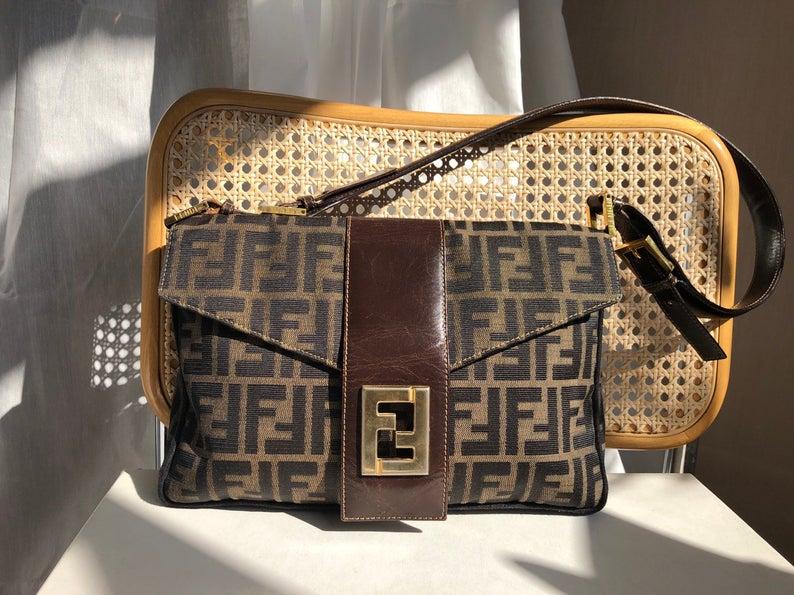 Vintage Fendi Zucca Vintage 80s Logo Print Handbag Purse Bag Trending Handbag Stylish Handbag Cheap Purses