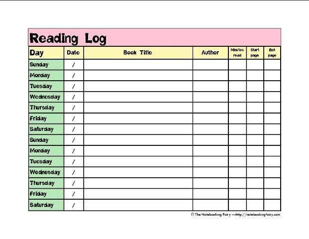 reading logs printable