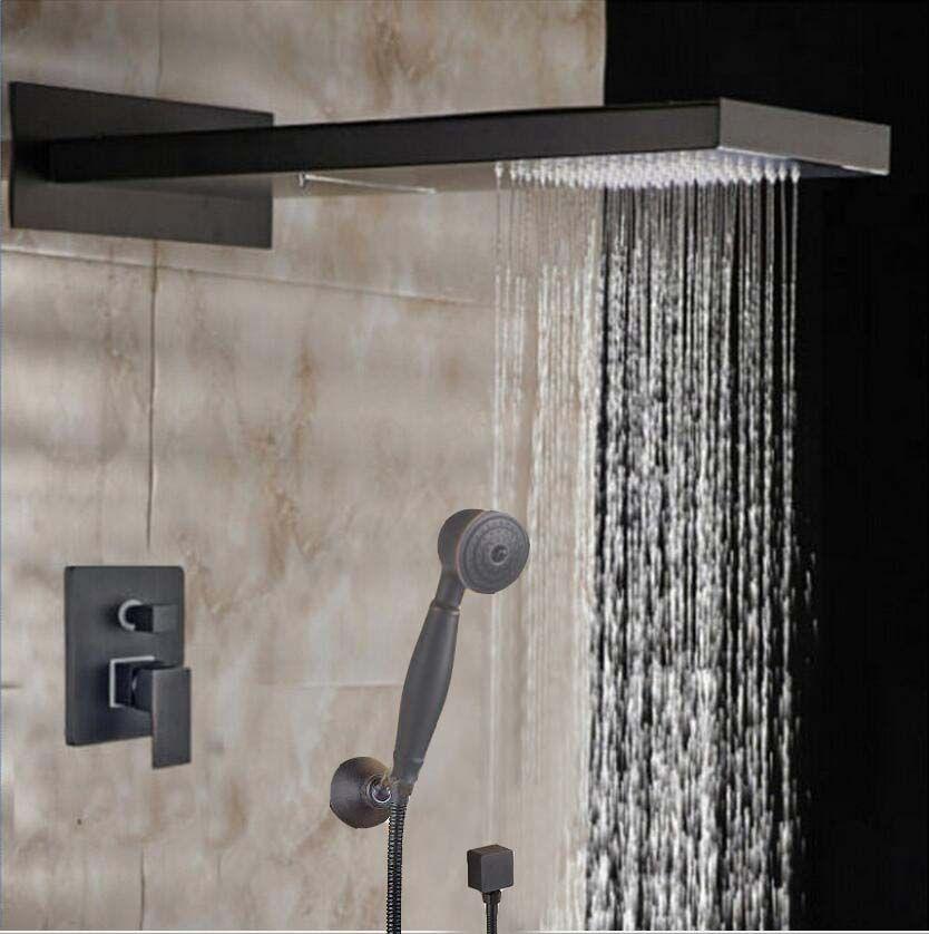 Oil Rubbed Bronze Waterfall Rainfall Shower Head Valve Mixer Tap W