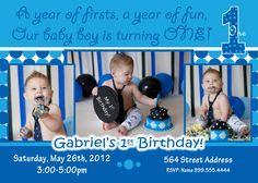 Personalized Baby Boy 1st Birthday Invitation Templates