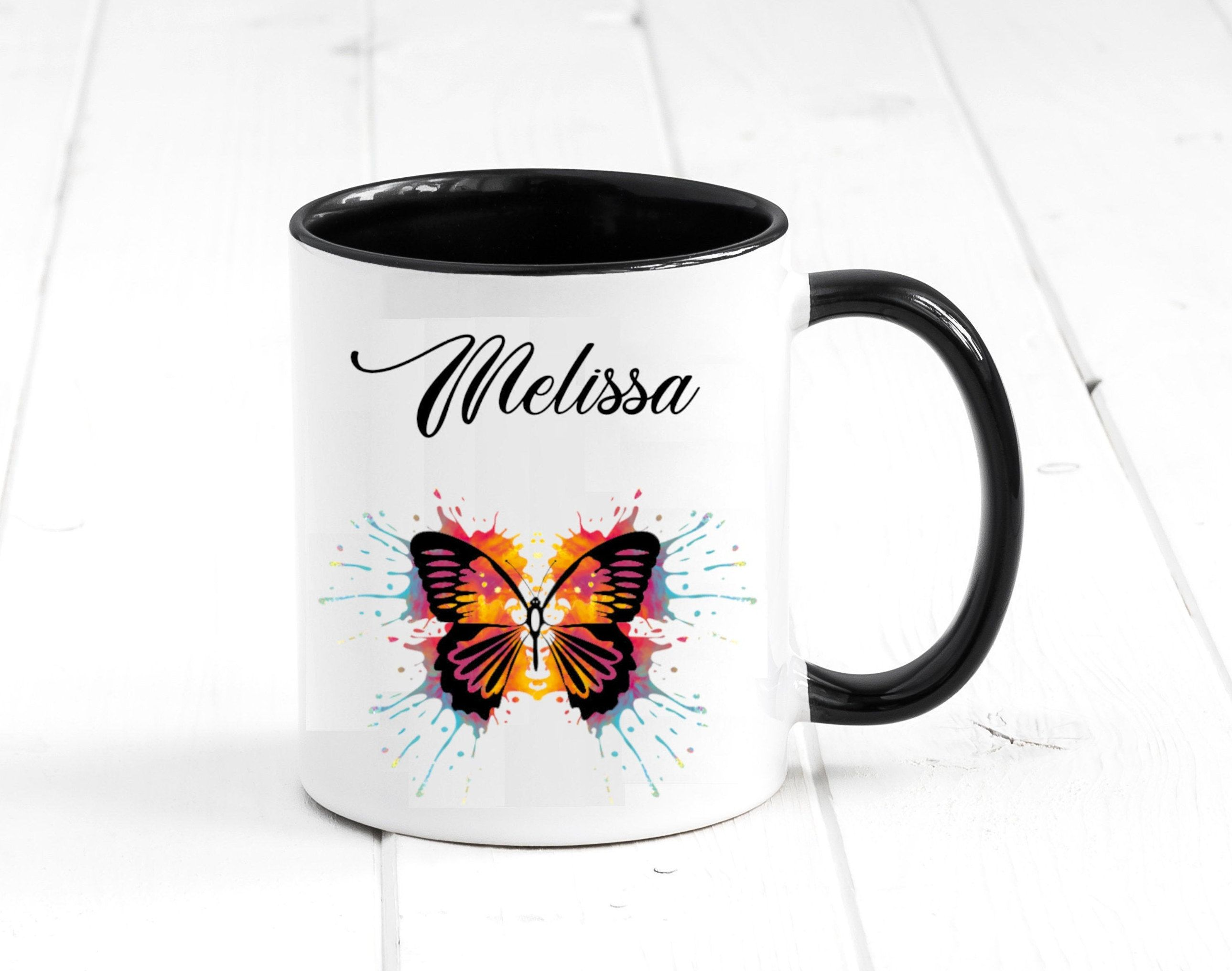 Personalized Butterfly Mug. Custom Name Tea Cup. Funny