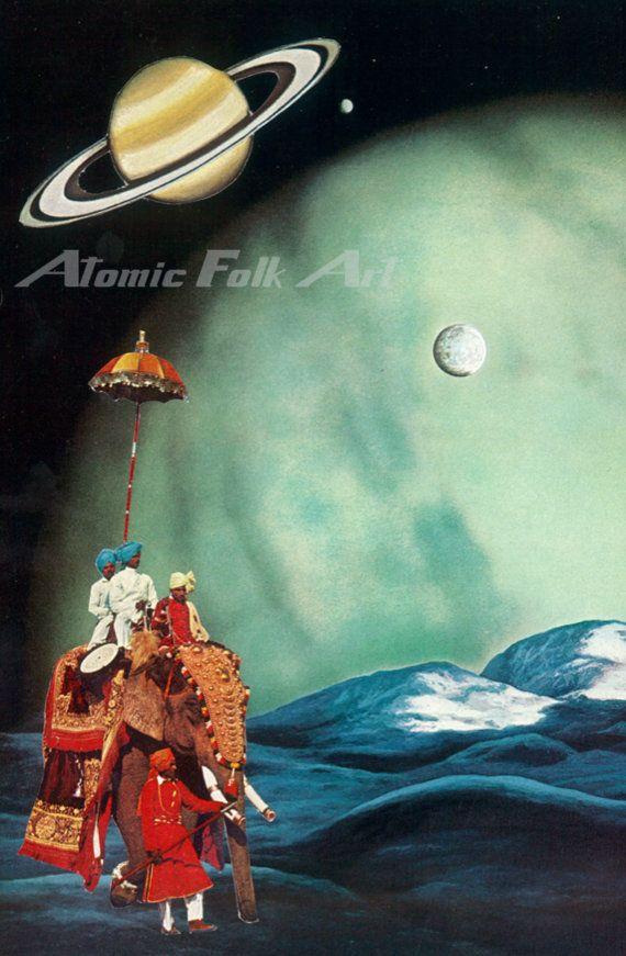 Elephant moon ride by atomic folk art collage visual art surreal